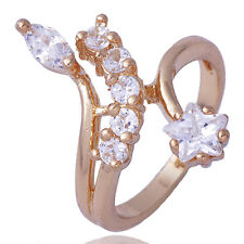 Fashion Gold Filled Clear Leaf Star Cubic Zirconia Womens Jewelry Ring Size 5