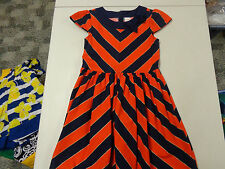 GYMBOREE PREP PERFECT ORANGE & NAVY BLUE COTTON DRESS  GIRLS   8   LNW