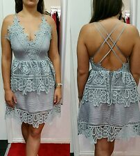 Backless grey self portrait style lace v neck tear dress size small dolls house