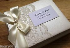Large Wedding Engagement Guest Book Personalised Vintage Lace Boxed Ivory