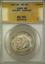 1865 Bolivia Small Beard Silver 1/2 Melgarejo Coin Anacs Au-50 Details Cleaned