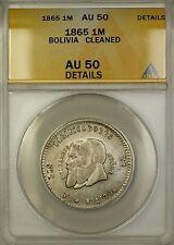 1865 Bolivia Small Beard Silver 1/2 Melgarejo Coin Anacs Au-50 Details Cleaned