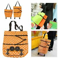 Folding Shopping Cart Trolley Wheels Fold Up Storage Box Luggage Bag Foldable