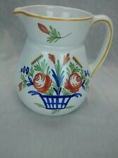 Nice vintage French Desvres France hand painted pottery pitcher