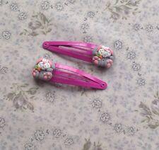 Pinces à cheveux lapin de Pâques Lapins si mignon hademade rose et argent FIMO