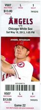 2013 Angels vs White Sox Ticket: Alberto Callaspo, Mark Trumbo Hector Gimenez HR