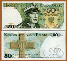 Poland, 50 Zlotych, 1975 P-142 (142a), UNC   first date