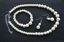 Pearl Crystal Necklace Bracelet Earring Bridal Set Wedding Bridesmaid Gift