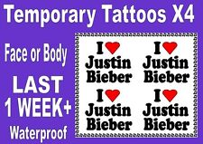 JUSTIN BIEBER fan concert temporary FACE & BODY TATTOOS X4 waterproof LAST 1 Wk+
