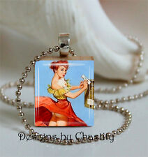 Pinup Girl Necklace Charm Redhead Wind Blowing Pin up Skirt Panties Mailbox VTG