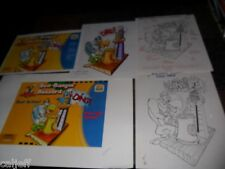 5 PIECE LOT ORIGINAL ART ARTWORK BURGER KING TOY WOODY WOODPECKER BUZZARD BLAST