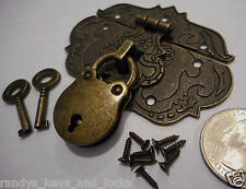 Small Chest Hasp With Lock and Keys - Reproduction Jewelry Box Hasp - Latch
