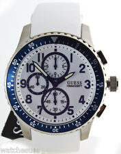 Guess Men's W12652G1 Chronograph Stainless Steel Case White Rubber Band Watch