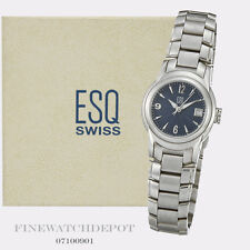 Authentic Ladies ESQ Swiss Stainless Steel Quest Blue Dial Watch 07100901