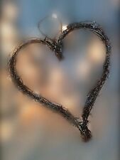 Gisela Graham Christmas Silver Glittered Twig Heart Wreath 33cm Wall Hanging Dec