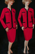 $1870 NWT ST JOHN Crimson/Black Trim 4 Pockets & buttons Santana Knit Suit sz 8