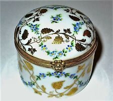 LIMOGES BOX - TIFFANY - LE TALLEC - BLUE FLOWERS & GOLD GRAPEVINE - 1985