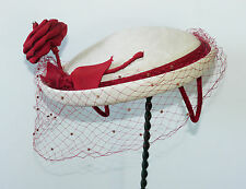 Helen Erickson cream straw ladies hat with rust ribbon rose, pompoms, veil