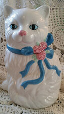 Ceramic Persian Cat Cookie Jar w/Lid  Storage Canister - Blue and White