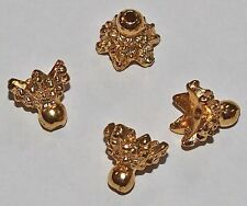4 Vintage Nugget Bead Caps 6 point rims Gold Plated high qual findings