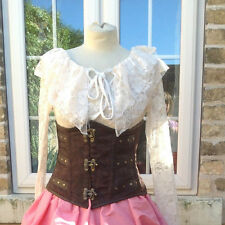 LADIES FRILLY CREAM LACE BLOUSE TOP VICTORIAN STYLE STEAMPUNK SIZE  8  10