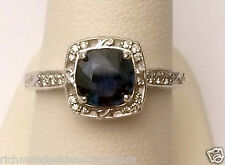 White Gold Round Halo Antique Vintage Style Sapphire Diamonds Engagement Ring