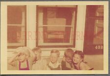 Vintage Color Snapshot Photo Cute Boys & Girls in Arms 688844