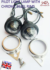 ROYAL ENFIELD SPARE CLEAR PILOT LIGHTS WITH BULBS CHROMED RIM BRAND NEW x PAIR
