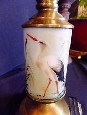 Antique Art Nouveau Parlor Oil Lamp Ornate Base Hand Painted Crane P & A Burner