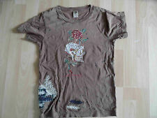 ED HARDY cooles used look Shirt Skull mit Strass braun Gr. XS TOP  (KN 514)