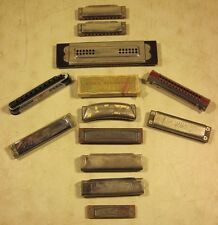 Collection Of 13 Vintage Antique Harmonicas Hohner Blessing Valencia Germany USA