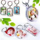 10x Clear Acrylic Blank Keyring Photo Picture Frame Split Keychain Key Ring Gift