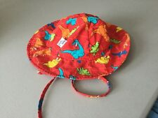 Baby Boy's Sun Hat by Wee Wave in Wide Brimmed Red w/ Dinosaurs Tie On