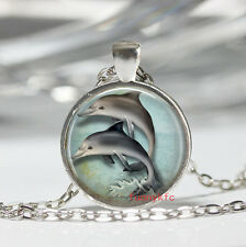 1pcs Vintage dolphin Cabochon Silver plated Glass Chain Pendant Necklace