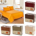 4 Piece Bed Sheet Set Quilt Cover Pocket 6 Colors Twin Full Queen King Size LS