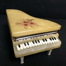 VINTAGE MINIATURE PIANO GENUINE ALABASTER ITALY HAND CRAFTED TRINKET BOX