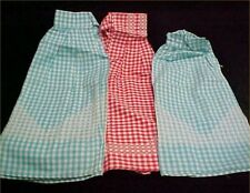 3 Vintage Antique Aprons Skirt Half LOT 1950s ALL Gingham Chicken Scratch Unused