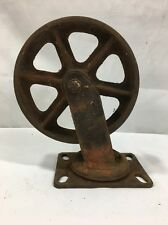 "ANTIQUE VINTAGE 8"" METAL INDUSTRIAL CART WHEELS CASTERS STEAMPUNK RUSTY SWIVEL"