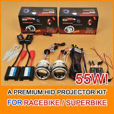 """2x 2.5"""" Motorcycle HID BI-XENON Headlight Projector Kit Halo Angel Devil Eye 55W"""