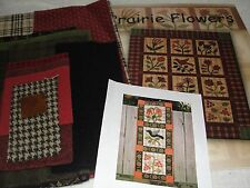 PRAIRIE FLOWERS Wool Applique Wall Hanging Quilt Kit & Book Jo Morton 9x29""