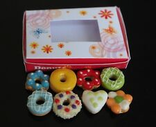 DOLLHOUSE MINIATURES 8 DONUTS DOUGHNUT IN BOX FOOD SUPPLY BAKERY CUTE SWEET DECO