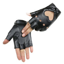 Women Lady Half Finger Gloves Heart PU Leather Charm Show Mittens Fashion New