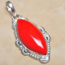 "Handmade Genuine Red Coral 925 Sterling Silver Pendant 2"" #P06063"