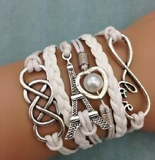 Fashion Jewelry Handmade White Heart Pearl Tower silver Leather Bracelet SKX05