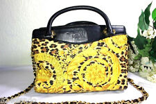 Vintage Gianni VERSACE Lady Gaga Yellow Paisly Nylon Leather Doctor Tote Bag