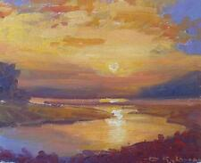 David Rylance Original Oil Painting - River Landscape At Sunset (Cornish Artist)