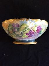 T&V Limoges Punch Bowl Hand Painted Flowers And Berries