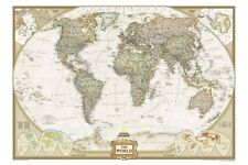 EXECUTIVE WORLD MAP by NATIONAL GEOGRAPHIC Educational Home Office Wall Decor