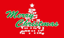 RED MERRY CHRISTMAS TREE FLAG 5' x 3' Happy Xmas New Year Party