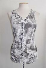 GUESS LOS ANGELES SIZE LARGE BLACK & WHITE FASHION PRINT LACE UP B ROLL TOP